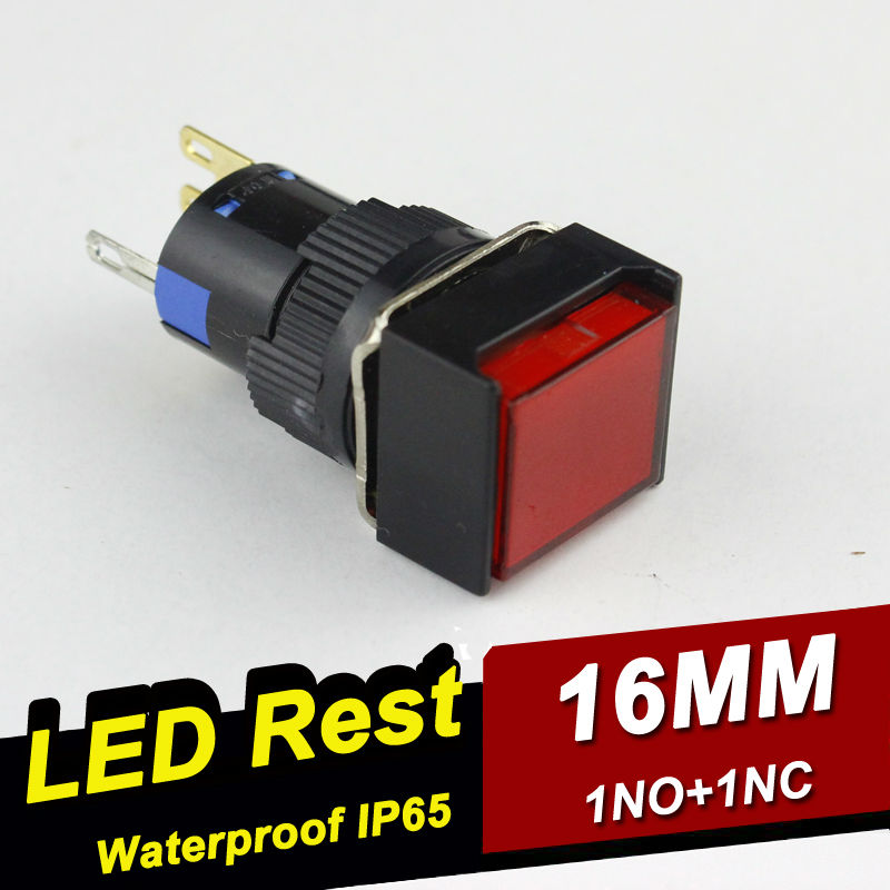 HABOO waterproof 1NO1NC led lighted momentary 1NO+1NC pushbutton witch,goldplating contact,ROHS,CE,6V,12V,24V,110V,220V LED