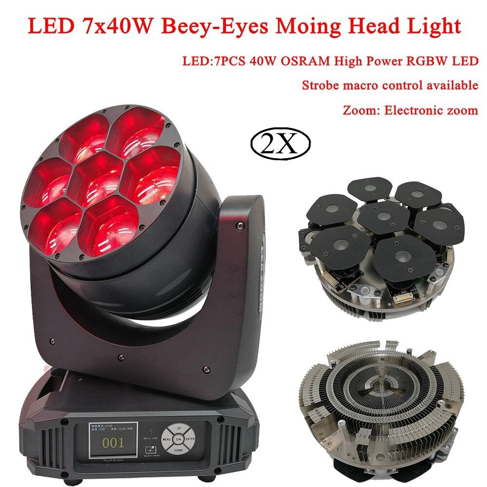 2 pcs/lot LED 7x40 w Beey-Yeux Moving Head Lumières de la Scène RGBW 4IN1 LED Électronique Zoom DJ lumière LED Faisceau & Wash Moving Phares