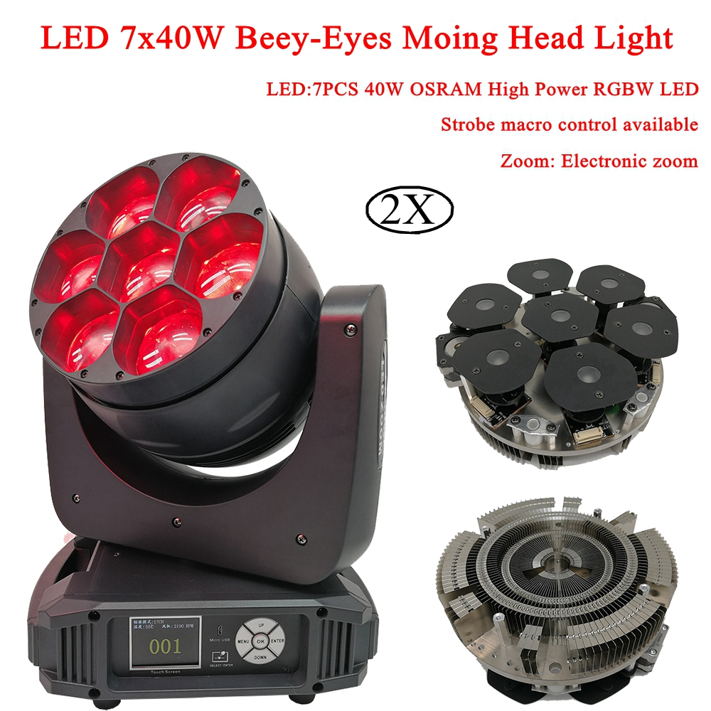 2 pz/lotto LED 7x40 w Beey-Gli Occhi In Movimento Luci del Palcoscenico Testa RGBW 4IN1 Elettronici A LED Zoom DJ LED Fascio di luce e di Lavaggio In Movimento Testa Luci