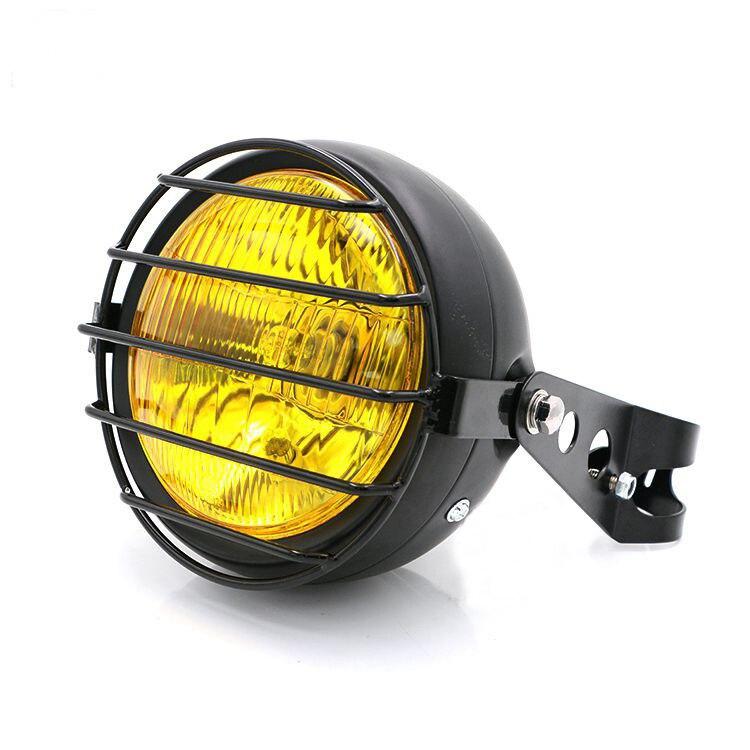 Lumière noire de gril de maille de phare de moto de LED avec le support pour le hachoir de Harley Bobber Yamaha Honda Kawasaki Suzuki Harley BMW