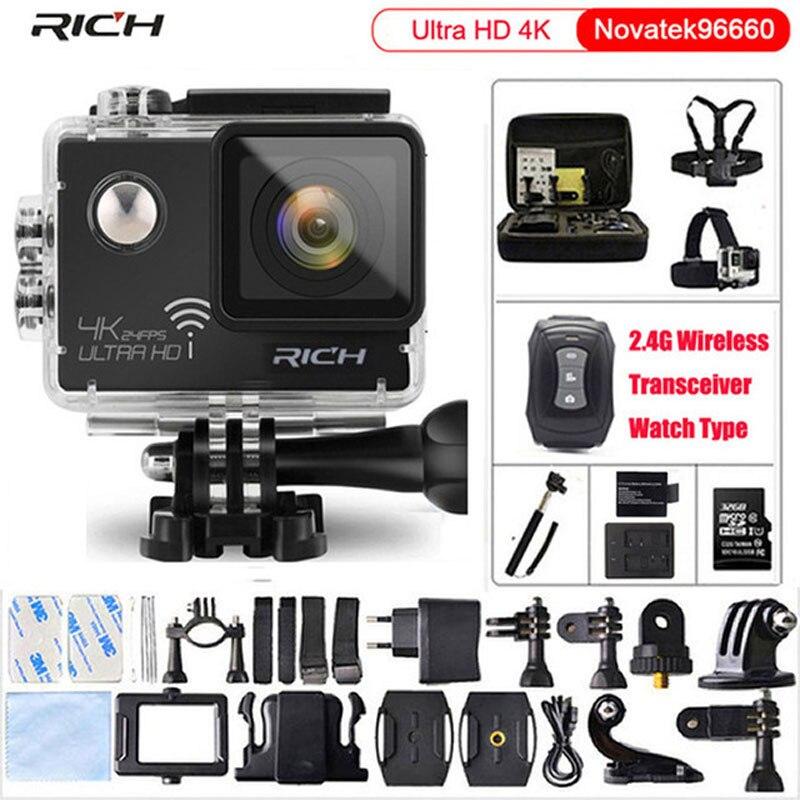 Caméra d'action Ultra HD 4 k 24fps gopro hero 4 style 16MP WiFi NTK96660 IMX078 170D Len Casque Cam Étanche 30 m Caméra de Sport