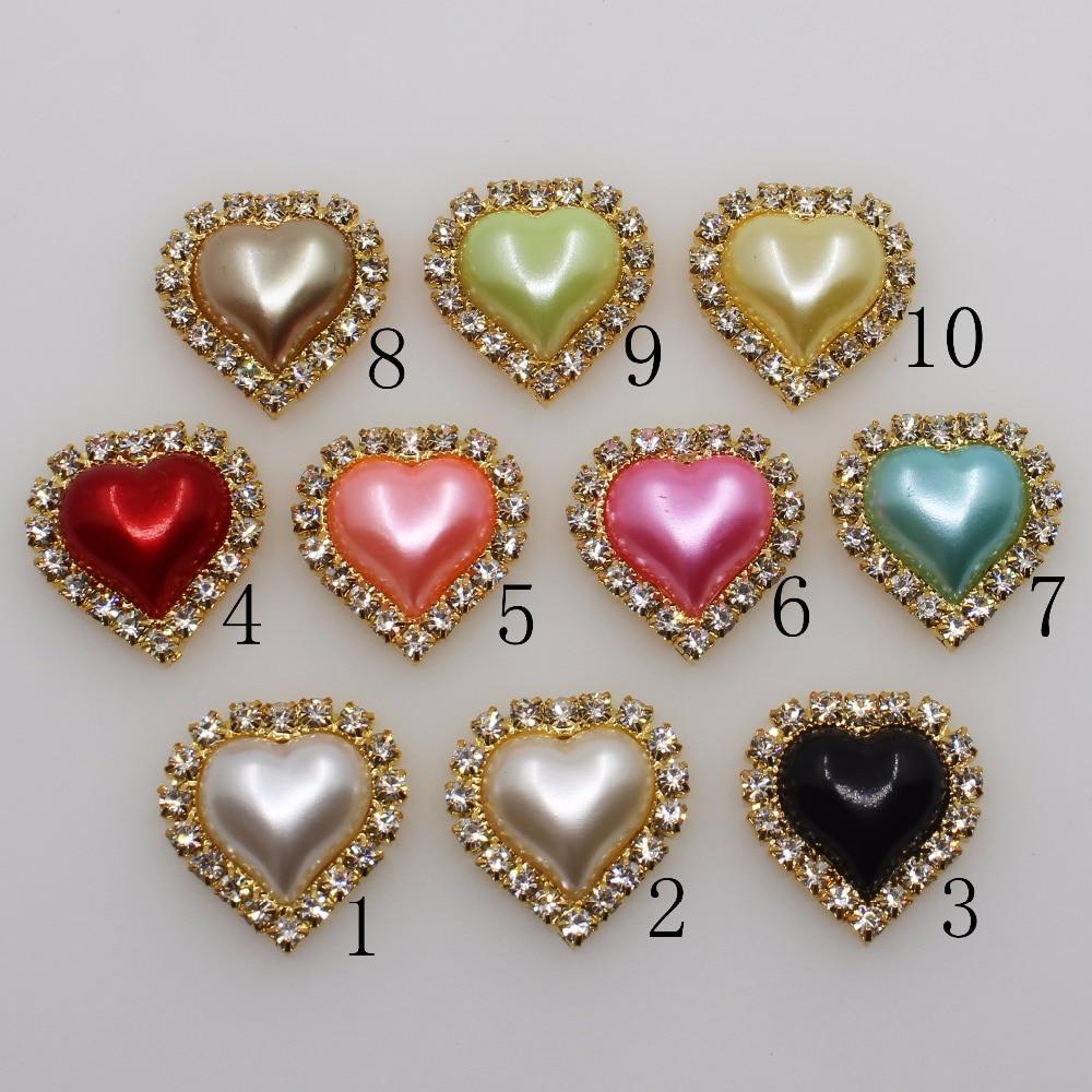 10pcs Heart Shape Buttons Embellishment Flatback Wedding Craft Decor 30mm