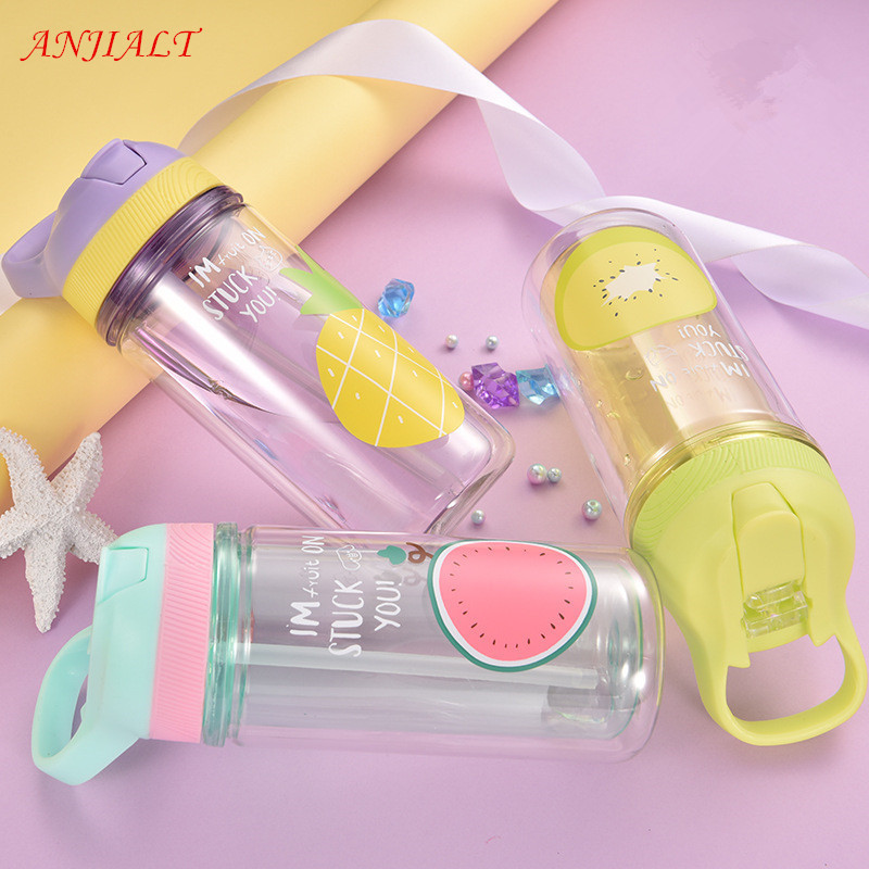 360ml Cartoon Water Bottle Bpa Free with Straw Lid Double Layer Plastic Sports Kids Shaker Bottle Tumbler Eco-friendly Portable