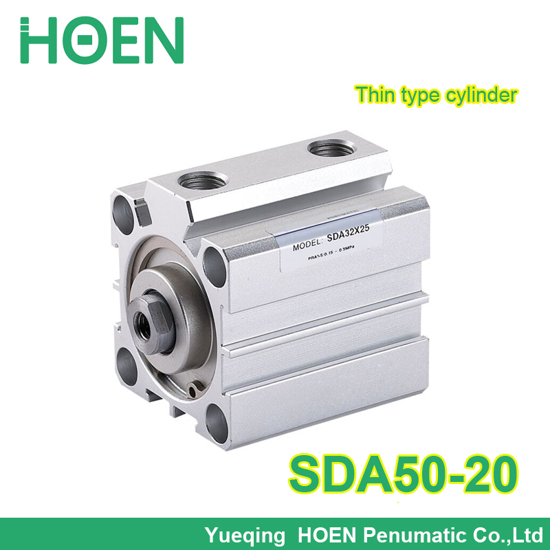 SDA50-20 airtac type SDA series 50mm Bore 20mm Stroke Pneumatic Compact Cylinder Double Action SDA50*20 Thin Type Air Cylinders  free shipping 2pcs lot sda 12 20 m5 0 8 port 12mm bore 20mm stroke double action airtac type pneumatic compact air cylinder