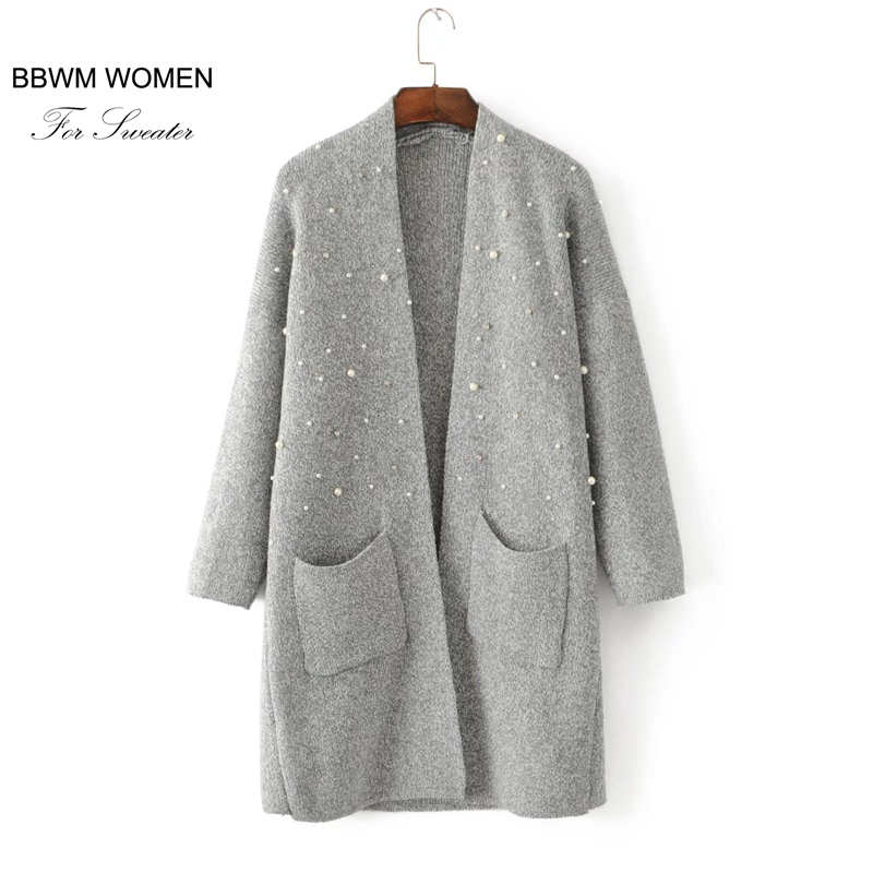 A16 fashion wind pearl decoration long sweater cardigan