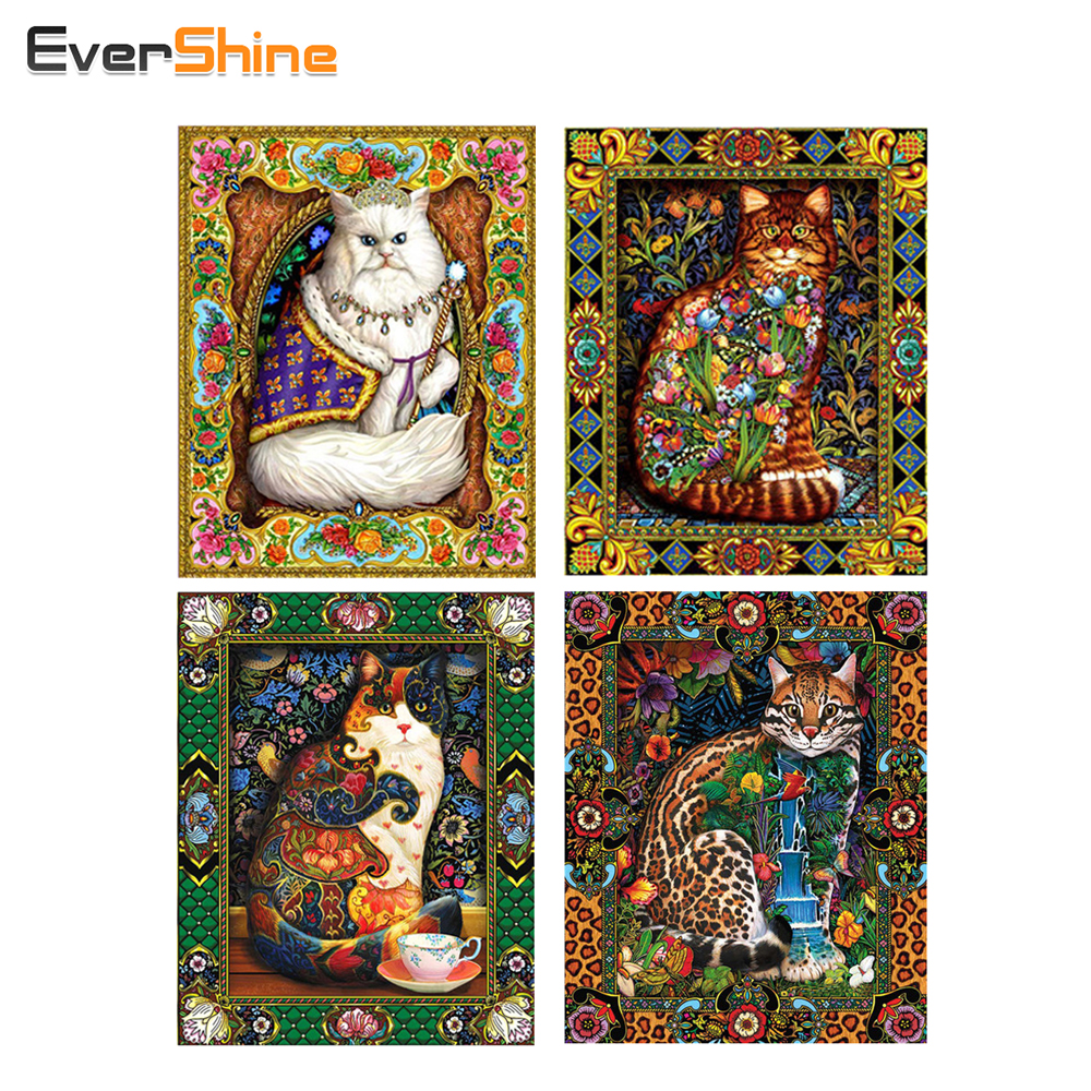 EverShine Cat Animal Diamond Broderi Måla Kit 3D Full Square Diamond Mosaic Pattern Rhinestones Wall Decor Arts