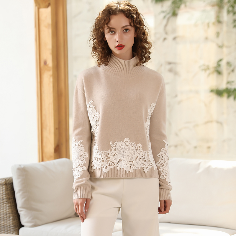 New 2019 Autumn Winter Women Pullovers Embroidery Lace Rib Knitwear 100 Cashmere Sweater Femme Pull Turtleneck