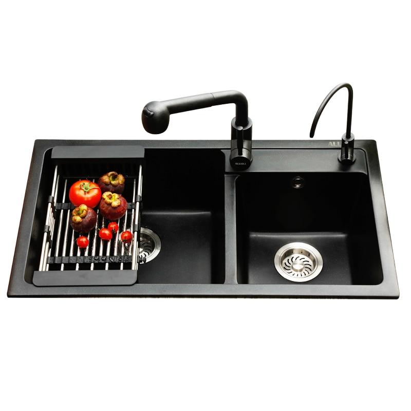 Gootsteen Graniet Zwembad, Aanrecht, Duitse Dikke Kwarts Stenen Gootsteen Dubbele Kom, Zwart Multifunctionele Wassen Wastafel, 20 cm Dikker Sink - 4
