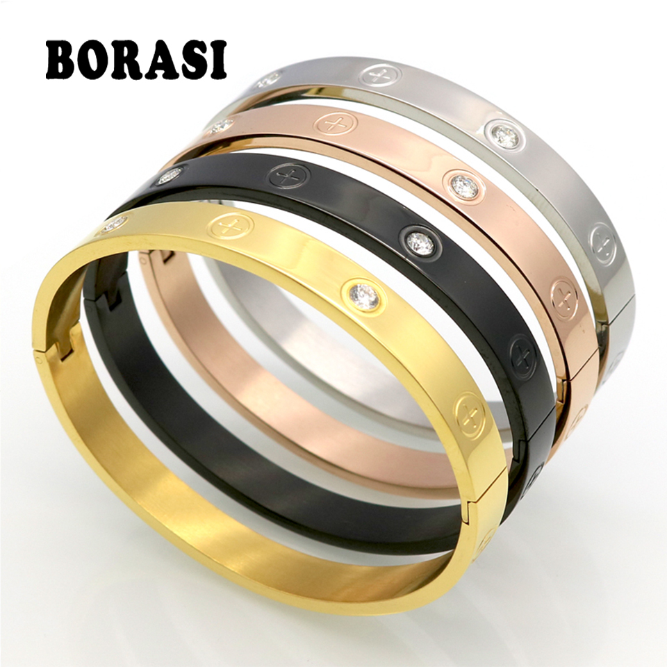 Hot Sell Couple Bracelet Gifts For Women Titanium Steel Gold Color Fashion Men Jewelry Love Cross Screw Bracelets & Bangles hot sell middle east brand titanium steel leopard bracelet bangle for women double wire full drill bangles bracelet top quality