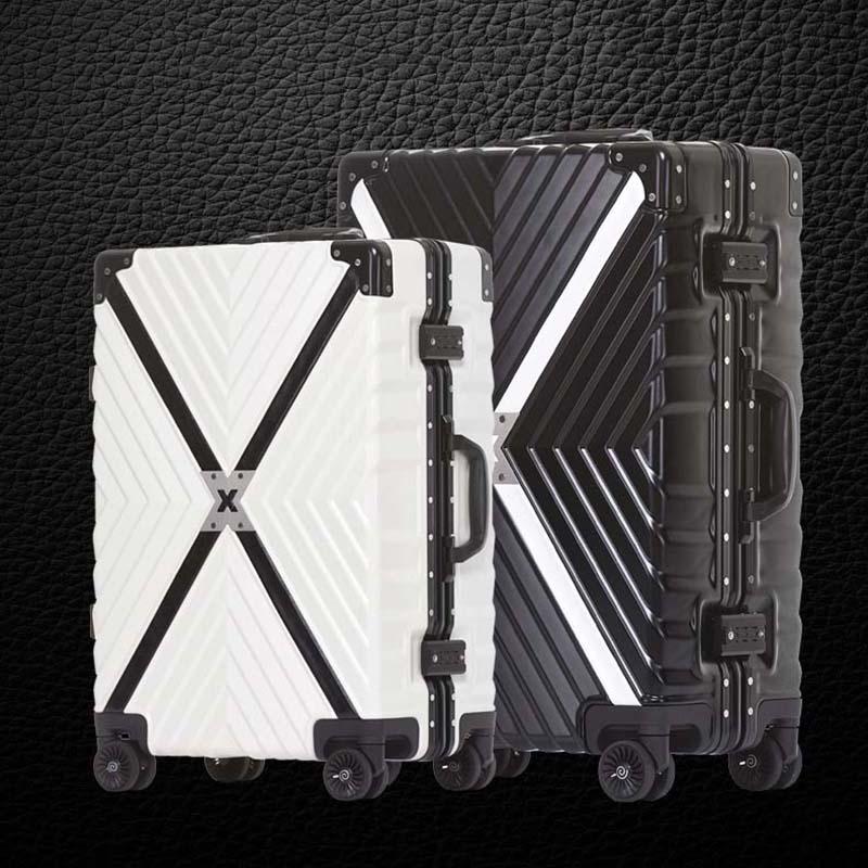 LeTrend o dużej pojemności aluminiowa rama kreatywny Spinner Rolling przechowalnia podróż walizka koła 20 cal czarny Carry na torba podróżna na kółkach w Walizki od Bagaże i torby na  Grupa 1