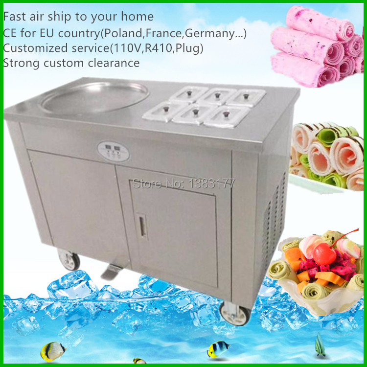 free air ship CE 50cm Full Stainless steel One flat pan Fried Ice cream machine ice pan maker Fry ice cream roll pan machine