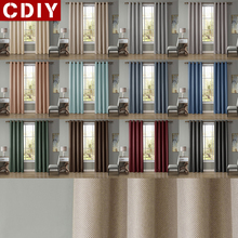 CDIY Solid Blcakout Curtains For Living Room Bedroom Linen Window Kitchen Thick Drapes Customized Fabric