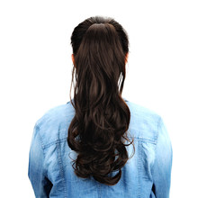 "18""Synthetic Long Curly Ponytail Wigs Claw Clip In Human Hair Extensions Drawstring Ponytail Natural Hair Ponytail Heat Resistan(China)"