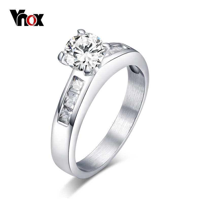 Vnox Women's Engagement Ring CZ Stone Promise Rings for Women Bridal Jewelry