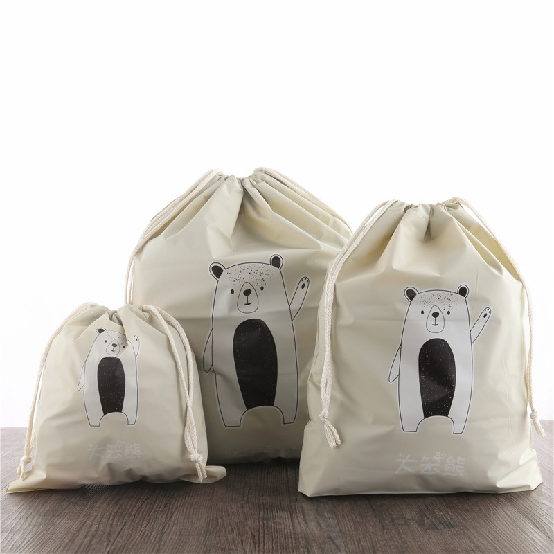 2019New 3pcs Separate Bags Travel Bundle Pocket Set Waterproof Drawstring Clothing Collection PVC Cartoon Shoes Underwear Organi
