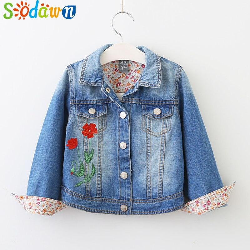 Sodawn Autumn New Flower Embroidery Lapel Girl Coat Kids Denim Jacket Fashion Children Clothes Children Outerwear&Coats