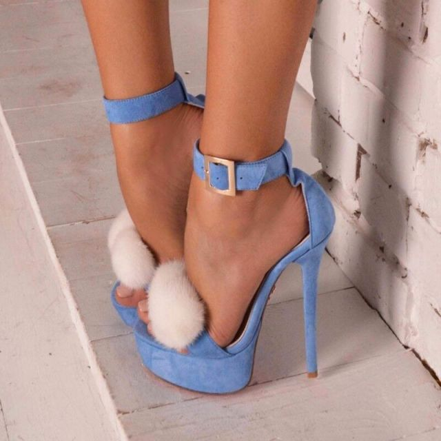 Elegant Sky Blue Suede High Heel