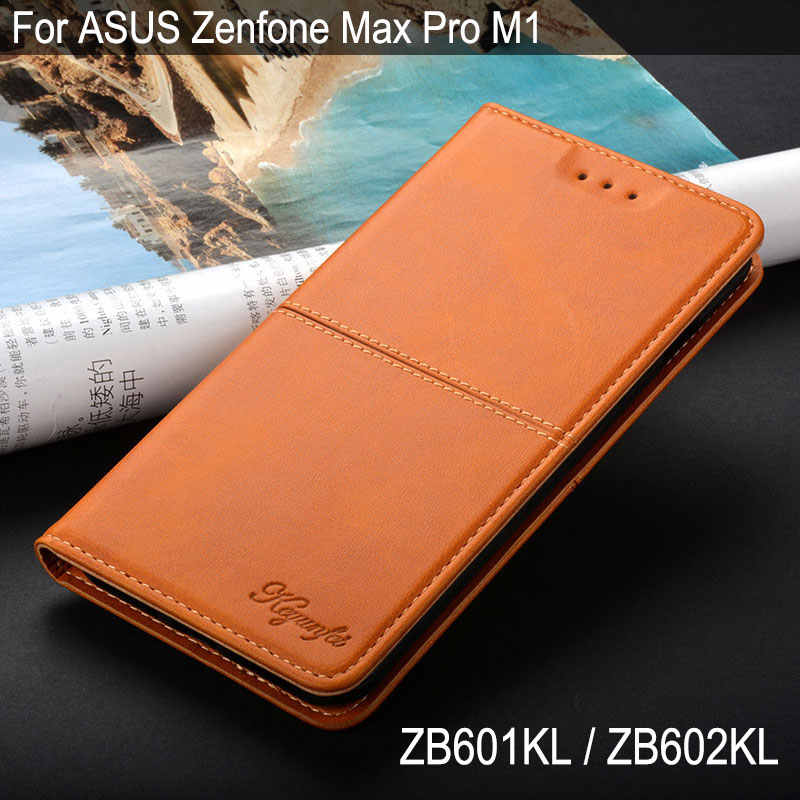 Case for ASUS Zenfone Max Pro M1 ZB601KL ZB602KL coque luxury Vintage Leather phone case Flip cover with stand Card Slot funda
