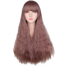 "QQXCAIW Women 26"" Long Kinky Curly Cosplay Wig with Bangs Party Mix Purple Heat Resistant Synthetic Hair Wigs(China)"