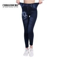 CHRLEISURE New Woman Fashion Jeans Print Denim Ankle Length Polyester Jeans Mid Waist Spandex Straight Slim