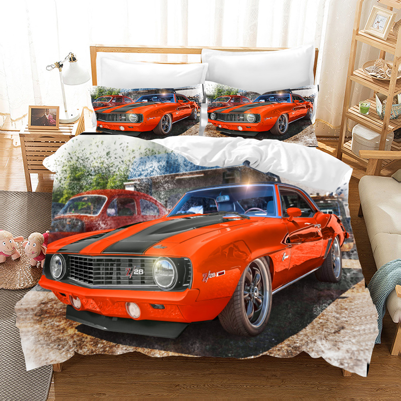Muscle Car Bedding Set Duvet Covers Pillowcases GTR Sports Car Children Room Decor Comforter Bedding Sets Bedclothes Bed Linen