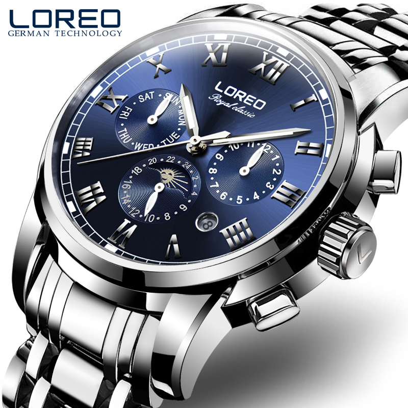 LOREO Royal Classic series automatic self-wind moon Phase sapphire luminous blue stainless steel corrosion resistant diver watch