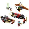 LEPIN Bicicleta De Persecución Ninjagoed Marvel Ninja Bloque de Construcción Modelo Kits Juguetes Compatible Con Legoe