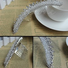 Stunning Bridal Wedding Jewelry Rhinestone Crystal Crown Veil Hair Comb Tiara W715