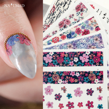 1 sheet Rose Letter 3D Nail Stickers Japanese Floral Flower Sticker Adhesive Art Tattoo Decoration