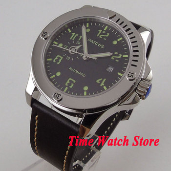 Solid 43mm Parnis watch 24 hours Sapphire glass black dial luminous MIYOTA Automatic movement Men's watch 1011