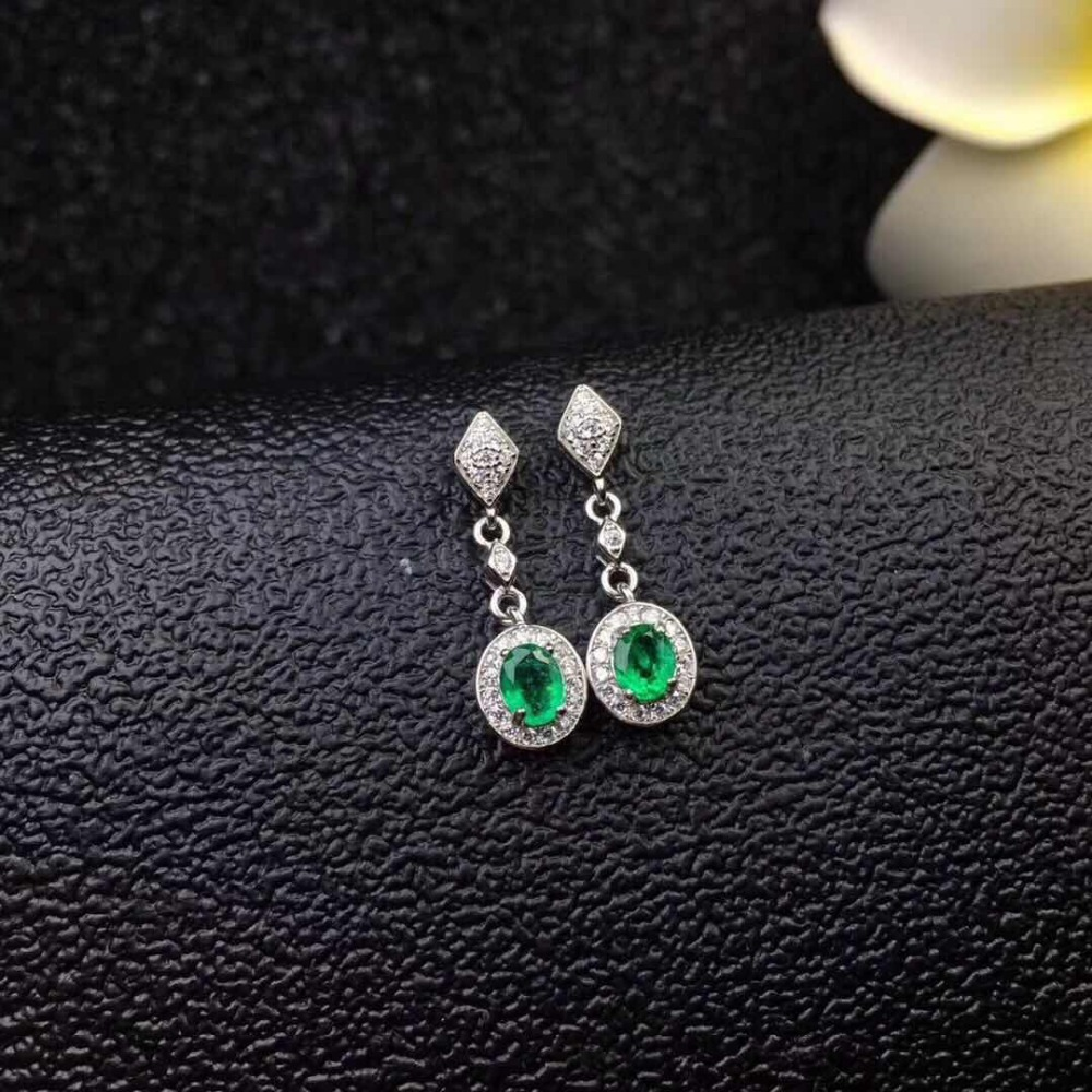 Emerald earring Free shipping Natural real emerald 925 sterling silver gemstone Fine jewelry emerald ring free shipping natural real emerald 925 sterling silver 4 6mm fine jewelry