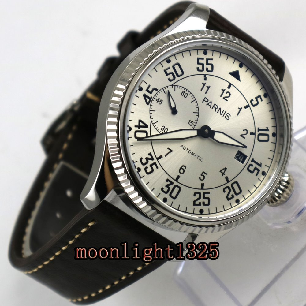 45mm Parnis silver dial date window ST2555 Automatic Movement Mens Watch  цена и фото