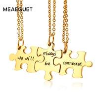 Meaeguet Trendy Or Couleur Femmes Colliers et Pendentifs Toujours Ensemble Puzzle Meilleurs Amis Collier Avec Livraison 20