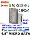 """L kingspec 1.8 polegada 1.8 """"Micro HD SATA SSD 128 GB SATA III II Solid State disco ssd para sony tt13 tt23 ibm x300 x301 t400s T410S"""