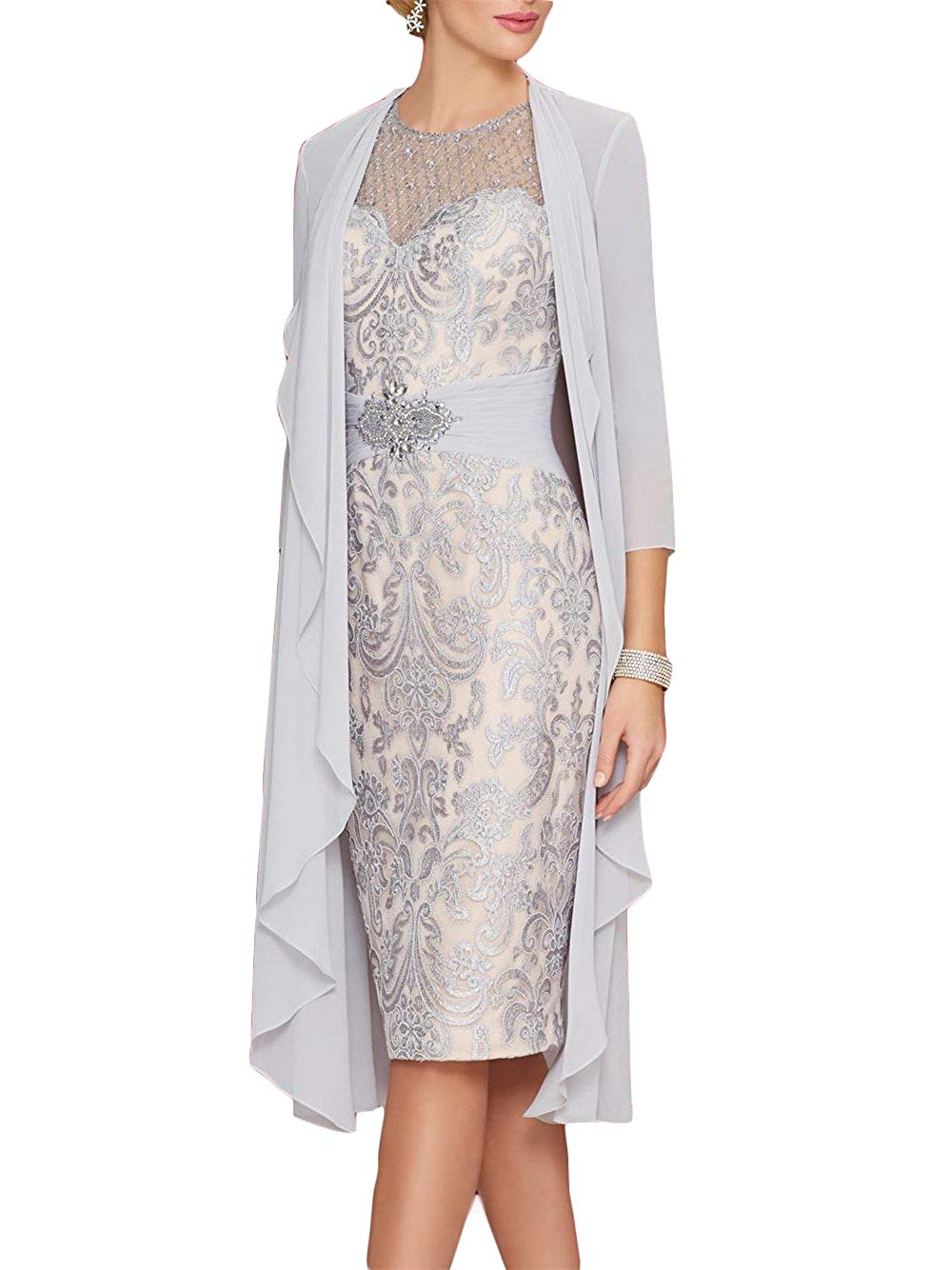 2020 Lace Mother Of The Bride Dresses With Chiffon Jacket 3/4 Sleeves Applique Beaded Women Formal Evening Party Gowns Hot Sale