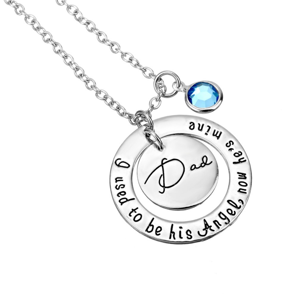 2017 Round Necklace With Letters I Used To Be Angel Now Hes Mine Mom Dad Necklaces & Pendant For Father s Mothers Day