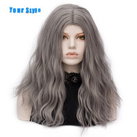 Your Style 13 Colors Synthetic Long Loose Wave India Natural Girls Ash Blonde Hair Wigs Red Black Pink Heat Resistant Fiber
