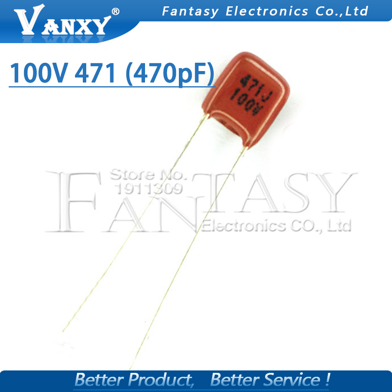 20PCS 100V471J 470PF Pitch 5MM 100V 471 CBB Polypropylene Film Capacitor
