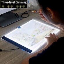 "Dimmable! Ultrathin A4 LED אור לוח כרית להחיל כדי האיחוד האירופי/בריטניה/AU/ארה""ב/USB תקע יהלומי רקמה יהלומי ציור צלב סטיץ ערכות"