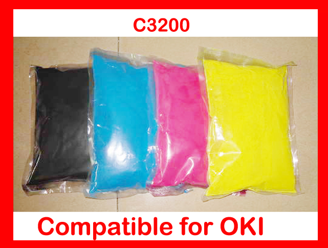 High quality toner powder compatible OKI C3200 3200 Free Shipping 4 pack high quality toner cartridge for oki c5100 c5150 c5200 c5300 c5400 printer compatible 42804508 42804507 42804506 42804505