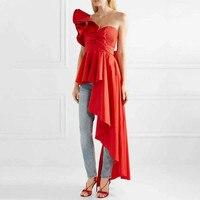 Runway Designer Womens Tops And Blouses 2019 Sexy One shoulder Ruffles Irregular Long Chiffon Blouse High Streetwear