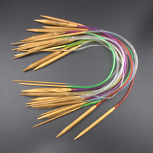 Multi-color 18Pcs/set 16″ 40cm Tube Carbonized Circular Bamboo Carbonized Knitting Needles