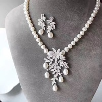 Jewelry Set Natural Fresh Water Pearl Pendant Necklace And Drop Earring Set 925 Sterling Silver With