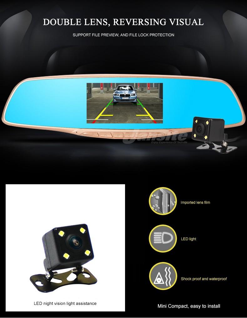 Jansite Car DVR Camera Review Mirror FHD 1080P Video Recorder Night Vision Dash Cam Parking Monitor Auto Registrar Dual Lens DVR 9