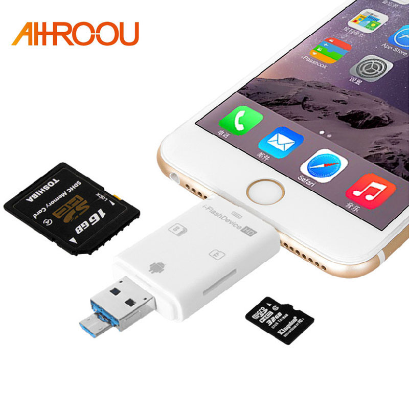 3 in 1 Micro USB OTG Card Reader Micro SD SDHC TF SD Card For iPhone 8 PLUS 7 PLUS 5 5S 6S 6 PLUS /Samsung/LG Andrid OTG Phones