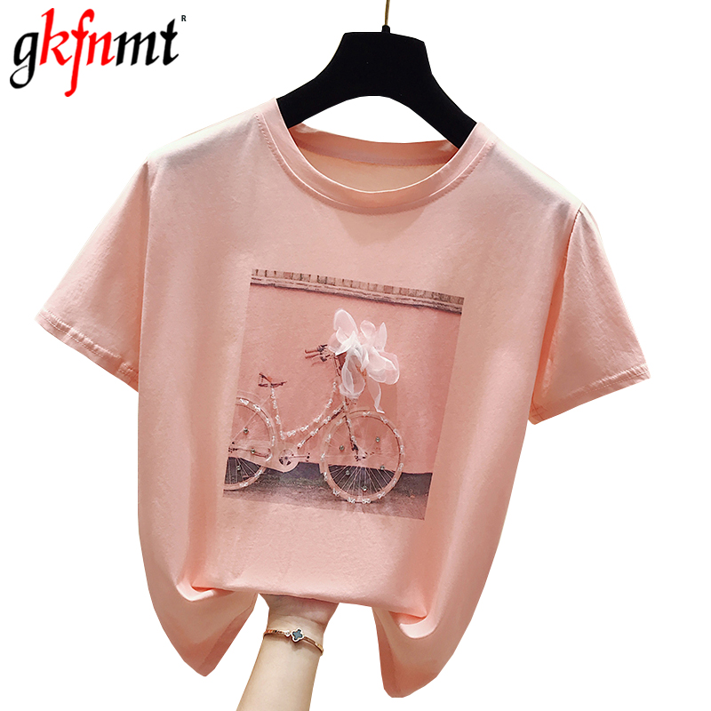 Gkfnmt 2019 Fashion Cool Print Female Summer T-shirt White Cotton Women Tshirts Casual Harajuku T Shirt Femme Pink Loose Top