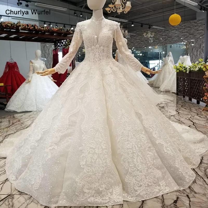 LS524199 Swollen Ball Gown Wedding Dress Long Sleeve Lace