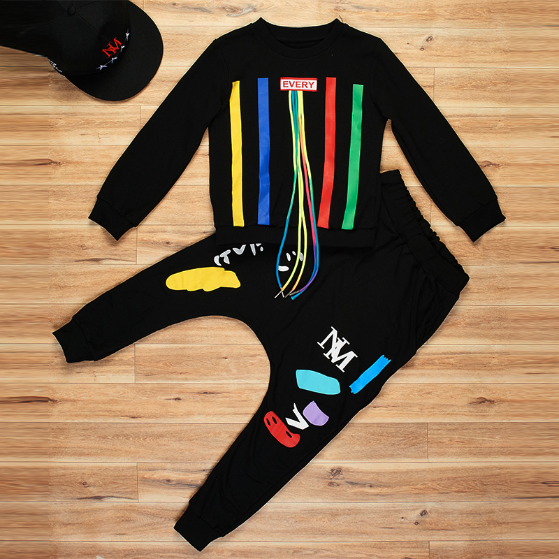 8 Bibihou new spring autumn kids clothes sets children 2 pcs Hip hop suit Shirt coat + Harem pants baby boys sport suits Color bar