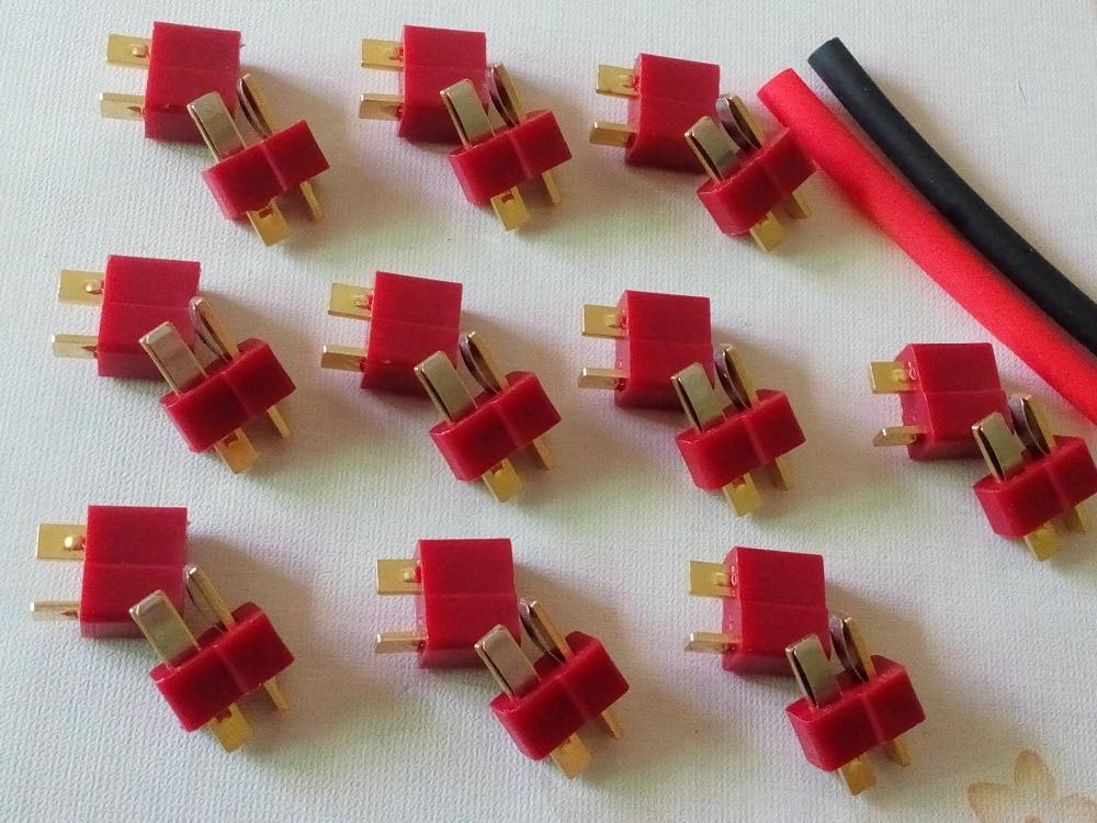 20pcs T- Plug Male & Female Connectors Deans Style For RC LiPo Battery ESC Gift  Heat Shrink Tubing