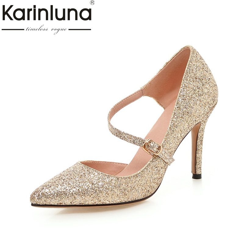 KARINLUNA Large Size 33-43 Bling Upper Pointed Toe Thin High Heels Women Shoes Sexy Pink Gold Silver Black Date Wedding Pumps newest bling bling glitter high heel shoes 2017 sexy pointed toe woman pumps celebrity thin heels wedding shoes black gold silve
